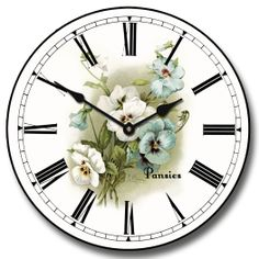White Pansies Wall Clock 10 60 Whisper Quiet nonticking -- Find out more about the great product at the image link. Bathroom Wall Clocks, Bedroom Clocks, Living Room Clocks, White Wall Clocks, Unique Wall Clocks, Floral Clock, Floral Wall, Pendulum Wall Clock, Clocks For Sale
