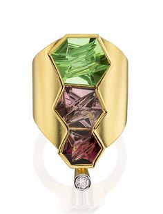 Munsteiner gold and diamond ring featuring three coloured tourmalines cut from within.
