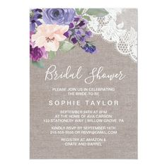 Purple Flowers and Lace Bridal Shower Invitation Bridal Shower Flowers, Elegant Bridal Shower, Bridal Shower Cards, Bridal Shower Invitations, Party Invitations, Bridal Showers, Watercolor Invitations, Baby Showers, Formal Wedding Invitations