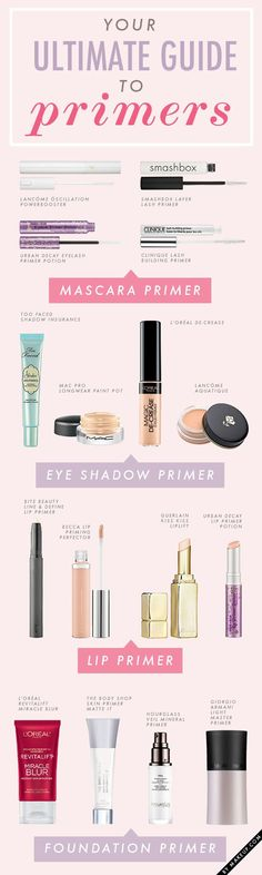 The ultimate guide to primers via @Krista McNamara Lahaye Garcia.com (who knew there were so many?!)