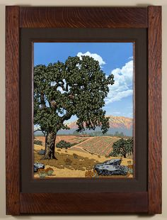 Sentinel Valley Oak - 3rd in a 4 part California Regions series, focusing on the valley. - Arts & Crafts - Craftsman - Bungalow - Keith Rust Illustration Framed Giclée Prints