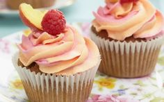peach and raspberry makes this recipe a fresh and fruity summer option for your cupcakes. Top with a fun two-tone buttercream for an impressive finish