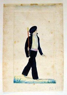 Le makhila en aquarelle au début du 19e siècle - Le blog de l'atelier Ainciart Bergara à Larressore: fabrication artisanale du makila ou makhila Blog, Costume, Folk Fashion, Watercolor Painting, Atelier, Blogging, Costumes, Fancy Dress