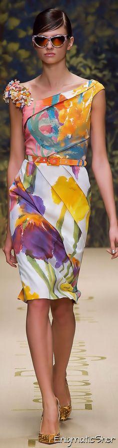 Laura Biagiotti ~ Spring Multi Color Floral Midi Dress