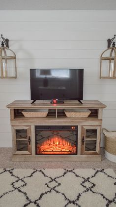 Crossmill Fireplace Media Console. Via Fox Hollow Cottage #tvstand #weathered #electricfireplace #mediacenter #livingroom #familyroom