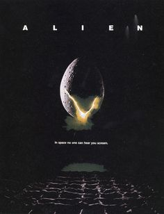 The poster for Ridley Scott's film Alien. The poster intends to create a lonely atmosphere, using smaller image and text size to produce an empty space. The isolated design stands out with only one (eerie) source source light.
