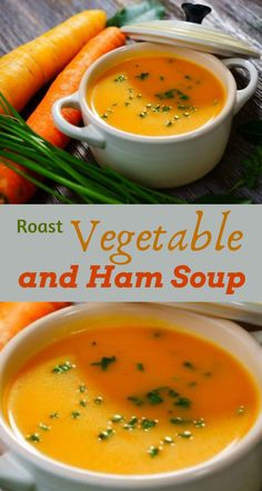 This is a delicious roast vegetable and ham soup recipe. It's extremely rich in flavour and it's a tasty winter warming recipe. High Protein Recipes, Protein Foods, Healthy Recipes, Ham And Bean Soup, Ham Soup, Roasted Vegetable Soup, Roasted Vegetables, Smoked Ham, Bowl Of Soup