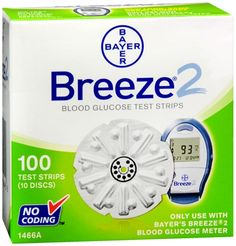 Image of BREEZE 2 Blood Glucose Test Strips 100 Each