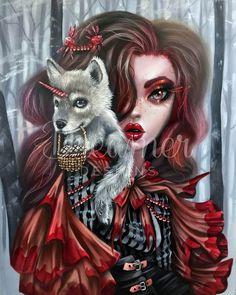 Estilo Dark, Gothic Fantasy Art, Goth Art, Creepy Cute, Fairy Art, Illustrations, Red Riding Hood, Little Red, Art Drawings