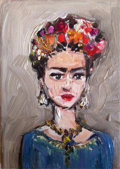 Frida Kahlo Painting oil on canvas by DevinePaintings on Etsy, $44.00