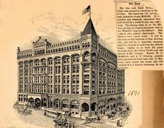 Drawing of the Reed Hotel, the hotel that sat on 2510 Washington between the 1890's and 1927. The Reed is the foundation of the current Ben Lomond Suites Historic Hotel.