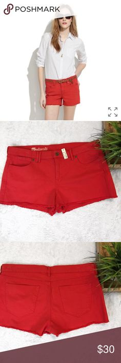 NWT Madewell Denim Shorts in Scarborough Red NWT Madewell Cutoff Shorts in Vibrant Scarborough Red Color! 99% cotton, 1% spandex. Madewell Shorts Jean Shorts
