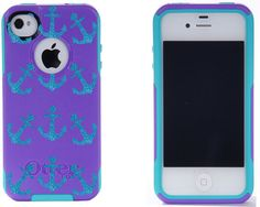 Otterbox iPhone 4 / 4S Commuter Case Purple/Peacock Glitter Mini Anchors iPhone 4S Otterbox Case