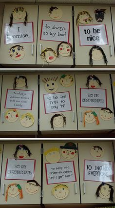 Class promises. Students made their self portraits. I would modify and have them each write their own promise. Buy-in will be better.