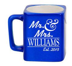 Ceramic Mugs - Square 8oz - Mr. & Mrs. Personalized with Name and date
