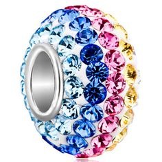 Sterling Silver Jewelry - birthstone jewelry 925  sterling silver colorful crystal fit beads charms bracelets all brands Image.