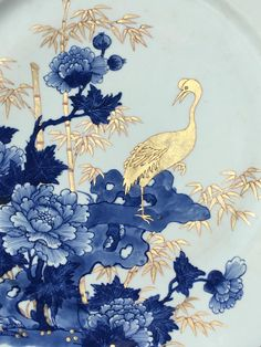Painted in Blue and white, with a crane amongst peonies and bamboo. China Painting, Fabric Painting, Japan Painting, Art Chinois, Art Asiatique, Chinese Patterns, Chinoiserie Wallpaper, Chinese Art, Chinese Prints