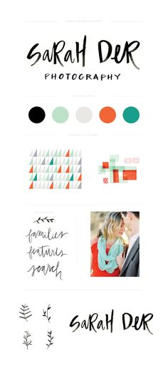 Branding for Sarah Der Photography: Love the handmade feel and look of this brand. The colour palette is very vibrant and modern. Corporate Design, Brand Identity Design, Graphic Design Branding, Logo Branding, Typography Design, Logo Design, Photography Branding, Photography Business, Logos