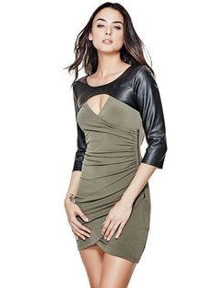 Olive green lace dress by guess