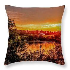 "Fire Lake Throw Pillow 14"" x 14"""