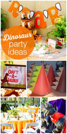 An awesome dinosaur birthday party with crafts and a fun ROAR banner!  See more party ideas at CatchMyParty.com!