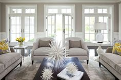 love the french doors and windows: Parkwood Road Residence Living Room contemporary living room
