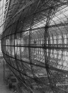 The vast and intricate framework of the Hindenburg in Friedrichshafen, Germany, October 1934