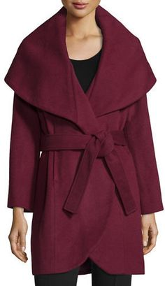 T TAHARI MARLA WRAP COAT  Oversized shawl collar spreads over shoulders. Long slightly flared sleeves. Front welt pockets.