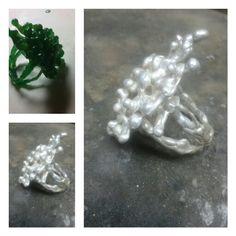 Silver ring made in lost wax. By tilltil www.sierraadsels.nl