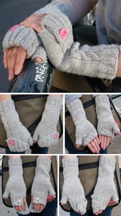 Free Knitting Pattern for Commuter Mitts - Cabled convertible fingerless gloves with a folded ribbed cuff that can be buttoned in a variety of ways to keep your hands warm and your fingers free. Worsted. Designed by Stephanie Sun for Knitty