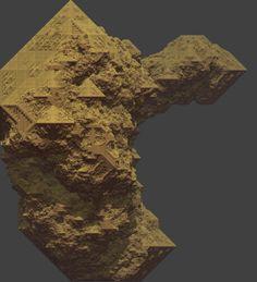 Tom Lowe, Crystal Rock (3d cellular automata), digital image.