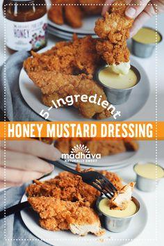 5-Ingredient Honey Mustard Dressing | Madhava Honey Mustard Dressing, Honey Mustard Sauce, Honey Recipes, Great Recipes, Favorite Recipes, Go Veggie, Veggie Tray, Crack Potatoes, Homemade Honey Mustard