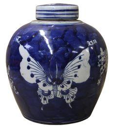 Chinese Oriental Small Blue White Porcelain Ginger Jar cs2076S