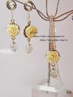Ellys Shop: Set colier si cercei trandafirasi rasina ivory Ivory, Drop Earrings, Handmade, Shopping, Jewelry, Fashion, Moda, Hand Made, Jewlery