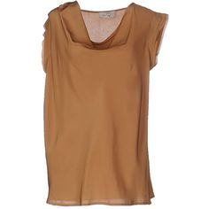 Ki6? Who Are You? Blouse ($130) ❤ liked on Polyvore featuring tops, blouses, camel, short sleeve tops, short-sleeve blouse, collar top, brown blouse and drape neck tops