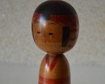 Poupée Kokeshi, vintage japonais, signé