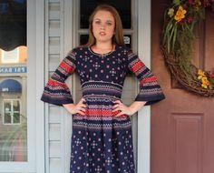 70s Maxi Dress Hippie Boho Small  S Vicky Vaughn by ScarletFury, $46.00