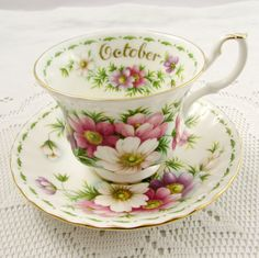 Royal Albert Tea Cup and Saucer Flower of the Month October Cosmos, Vintage Tea Cup, Bone China
