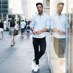 pastel blue shirt with black denim for men