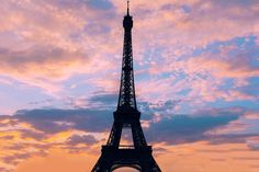 The famous Eiffel Tower at sunset