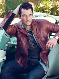 Image result for David Gandy brown leather jackets