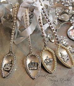Vintage spoon ornament, Silver spoon ornament, tarnished silver decor, Mediterranea Design Studio, tarnished silver, vintage decor