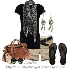 I gotta try these scarf things before it starts to get hot again... Black and brown, created by stacy-gustin on Polyvore