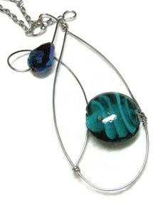 Lampwork glass and cobalt blue Czech crystal wirewrap pendant necklace