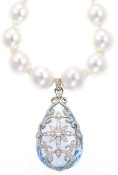 Platinum and Diamond Aquamarine Pendant Necklace by Erica Courtney®