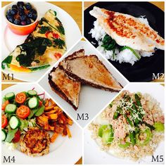 WIAT M1: veggie omelette & oats topped with flaxseed, almonds & blueberries. M2: pangasius, rice & spinach. M3: toast topped with cinnamon cream cheese. M4: chicken & fennel burger, sweet potato fries & salad. M5: tuna, rice, asparagus & leek topped with cheese.