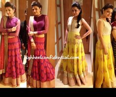 The Aggarwal sisters attended the CineMaa Awards tonight in Hyderabad wearing SVA by Sonam and Paras Modi. Kajal went for a more mature look in a purple lehenga and an updo while Nisha kept it fun in a floral yellow floor-length gown.