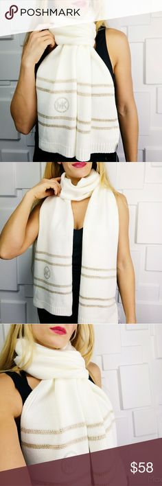 MICHAEL KORS KNITTED SCARF 🌟Trusted Seller🌟 💯Authentic MICHAEL Kors  Brand new with tags  Fabulous & chic Michael Kors cream knitted scarf with stud logo and metallic gold threaded lines.Make this fabulous SCARF a staple item for your winter wardrobe or give it as a gift to someone you care for!  🎁More fabulous MK accessories in my closet🎁  💖Shop with confidence💖 📮💌Same day shipping📮💌 5🌟🌟🌟🌟🌟 star rated closet  Christmas holiday stocking stuffers present birthday anniversary…