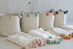 Bubbly Basket in Natural & Green design by Lorena Canals Rope Crafts, Diy And Crafts, Beach Crafts, Summer Crafts, Lorena Canals Rugs, Ideas Para Organizar, Rope Basket, Washable Rugs, Baby Room Decor