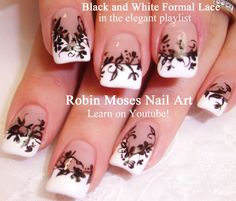 Nail Art - White Tips with Black Lace